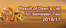 Dean's List for Semester Two 2016/17