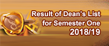 Dean's List for Semester One 2018/19
